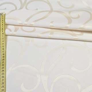 Атлас жаккард кремовый с молочными завитками, ш.150