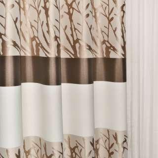 Жаккард в молочные коричневые бежевые полосы и коричневые ветки ш.140