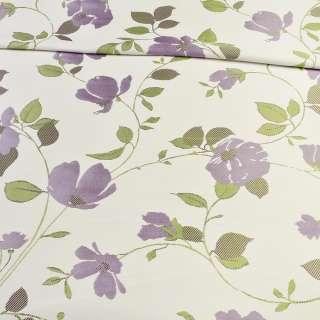 Атлас жаккардовый белый в веточки с фиолетовыми цветами, ш.150