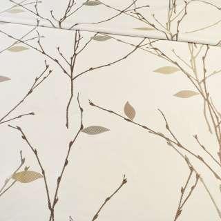 Атлас жаккардовый белый в коричневые веточки с бежевыми листьями, ш.154