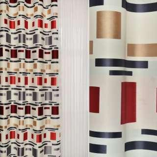 Жаккард атласный белый в бежевые,красные, черные четырехугольники ш.144