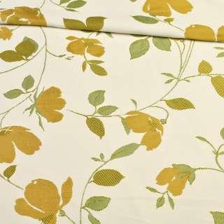 Атлас жаккардовый белый в веточки с золотыми цветами, ш.150