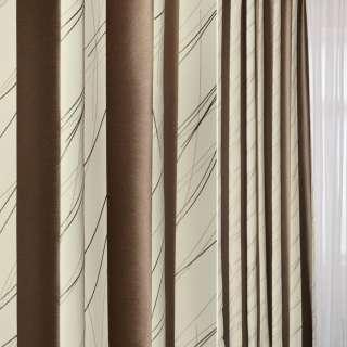 Жаккард в молочные и коричневые широкие полосы и розчерки ш.144