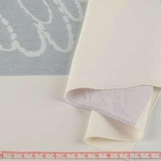 Жаккард для штор полосы серые, сиреневые на молочном фоне ш.143