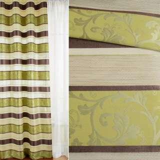 Жаккард для штор полосы атласные коричевые, салатовые на бежевом фоне, ш.140