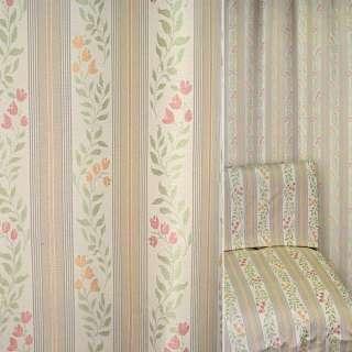Жаккард мебельный цветы колокольчики полосы песочные, бежевые,  ш.138