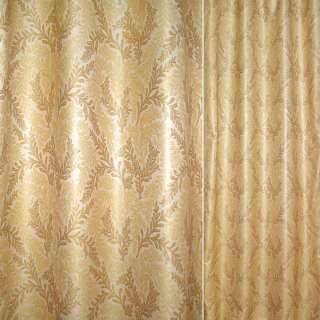 Жаккард бежевый в золотистые и коричневые ветки ш.135