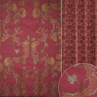 Жаккард вишневый в золотисто-зеленый цветочный узор ш.141