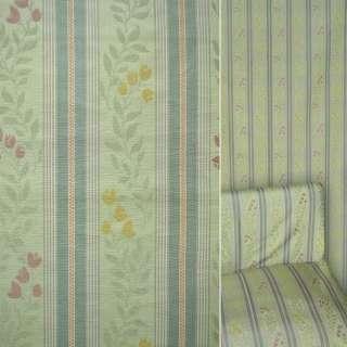 Жаккард мебельный цветы колокольчики полосы салатовые, зеленые, ш.140