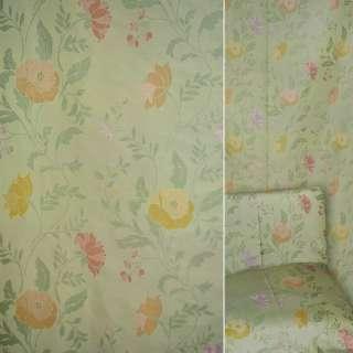 Жаккард мебельный цветы желтые, красные, фиолетовые на салатовом фоне, ш.140