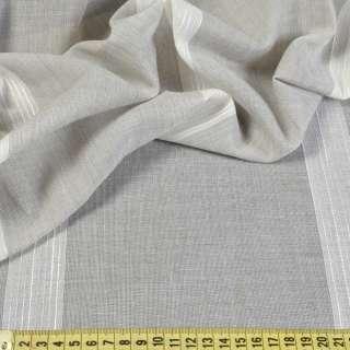 Лен портьерный серый в молочные полоски, с утяжелителем, ш.300
