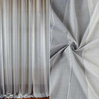 Батист гардинный в полосы широкие серые, нить по контуру, белый с утяжелителем, ш.300
