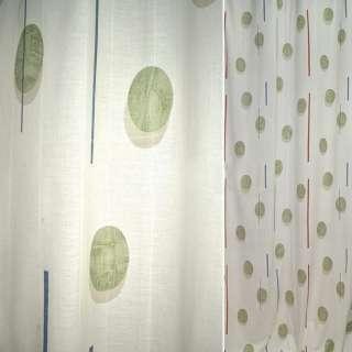 Поликоттон для штор овалы зеленые, полоски коричневые, синие на молочном фоне, ш.140