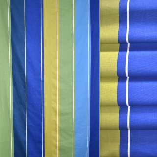 Деко-коттон в полосы синие, зеленые, желтые, ш.140