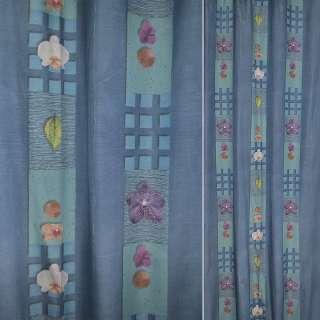 Поликоттон бирюзово голубые полосы в квадраты с цветами,листьями ш.140