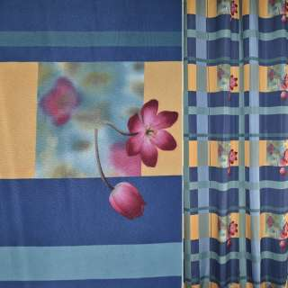 Поликоттон для штор клетка с цветами бордовыми на сине желтом фоне, ш.154