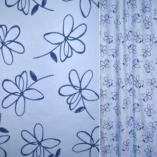 Сатин для штор цветы синие на голубом фоне, ш.140