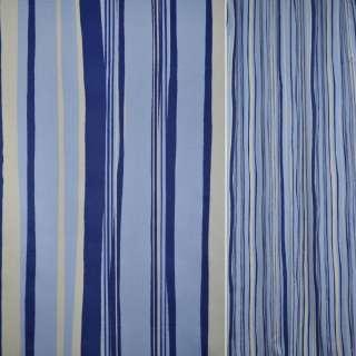 Сатин для штор полоски волны  молочные, синие, голубые, ш.140