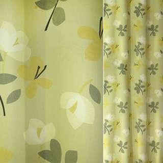 Сатин для штор цветы желтые, белые, зеленые на лимонном фоне, ш.140