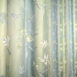 Сатин для штор цветы салатово-голубой, ш.140
