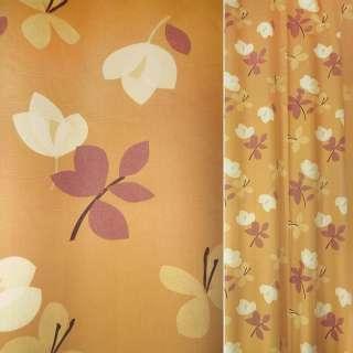 Сатин для штор цветы молочно-бордовые на оранжевом фоне, ш.140