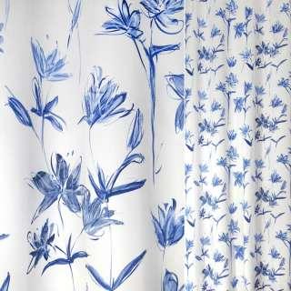 Сатин для штор цветы синие на белом фоне, ш.135