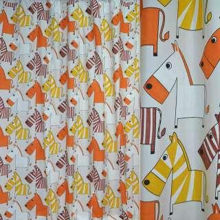 Ткань порт. молочная с желто-оранж. зебрами ш.280