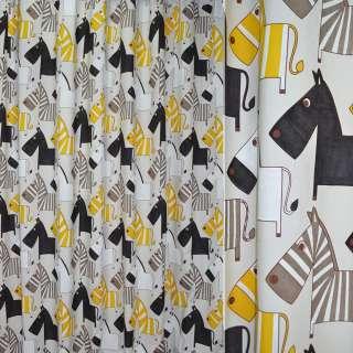 Сатин портьерный молочный с желто-черными зебрами ш.280