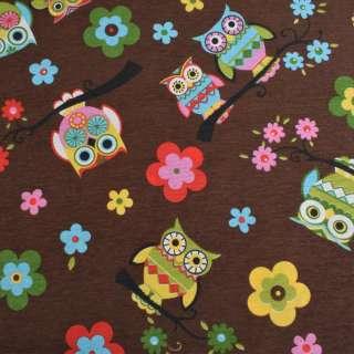 Коттон портьерный коричневый, разноцветные совы, цветы, ш.280