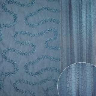 ДЕКО тафта синяя с вышитыми зигзагами ш.138
