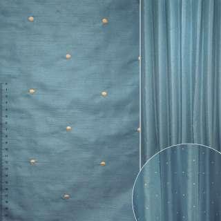 ДЕКО тафта синяя с вышитыми бежевыми точками ш.320