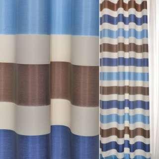 ДЕКО тафта коричнево-белые+синие полоски Германия ш.150