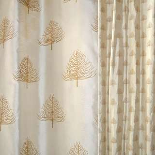 Шелк натуральный золотистый,вышитый деревьями ш.140