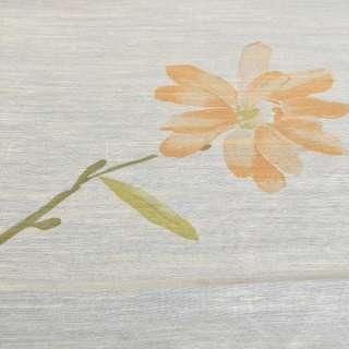 Шелк искусственный для штор принт цветы крупные оранжевые на молочном фоне, ш.140