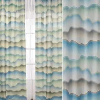 Шелк портьерный зеленые, голубые, бежевые акварельные разводы, ш.140