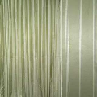 Шелк искусственный зеленый в молочные полосы ш.330