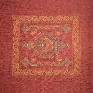 Шенилл подушечный с орнаментом красный, раппорт 65см (1 подушка), ш.140