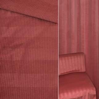 Велюр мебельный в рубчик 5мм в полоску вишневый светлый ш.140
