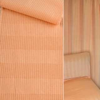 Велюр мебельный в рубчик 5мм в полоску абрикосовый ш.140
