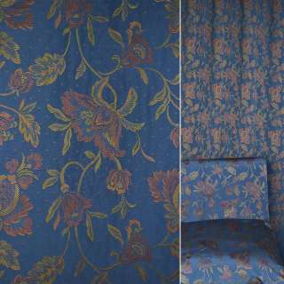 Жаккард мебельный цветы желто-красные на синем фоне, ш.140