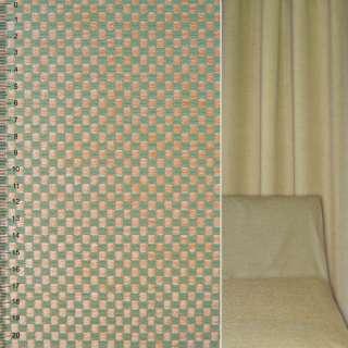Велюр жаккардовый зелено-бежевый в шахматку ш.142