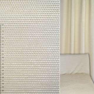 Велюр жаккардовый бежевый светлый в мелкие квадраты ш.140
