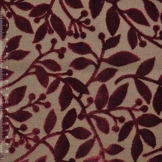 Велюр жаккардовый коричневый с листьями терракотовыми ш.140