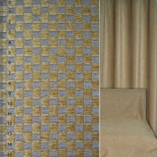 Шенилл жаккардовый в квадраты серо-бежевые ш.136