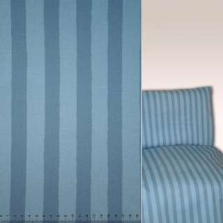 Коттон в полоску синяя и голубая ш.140