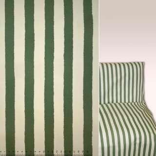 Коттон в полоску зеленая и кремовая ш.144