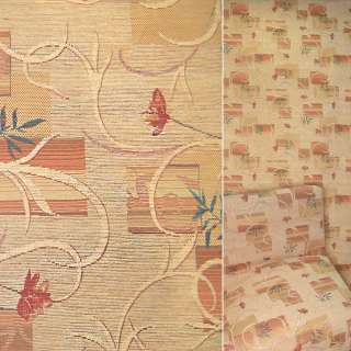 Шенилл светлый персик с красными цветами и квадратами ш.140