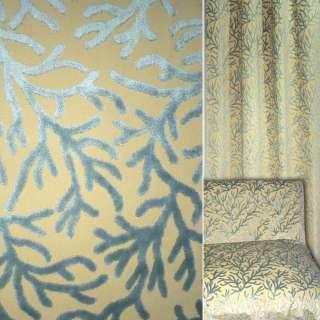 Жаккард песочный с серыми велюровыми веточками ш.140