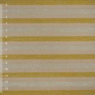 Шенилл золотисто бежевый в салатовую рельефную полосу на пвх основе ш.140