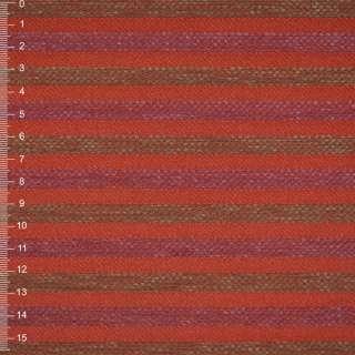 Шенилл терракотовый в оливково-малин рельефную полосу на пвх основе ш.140